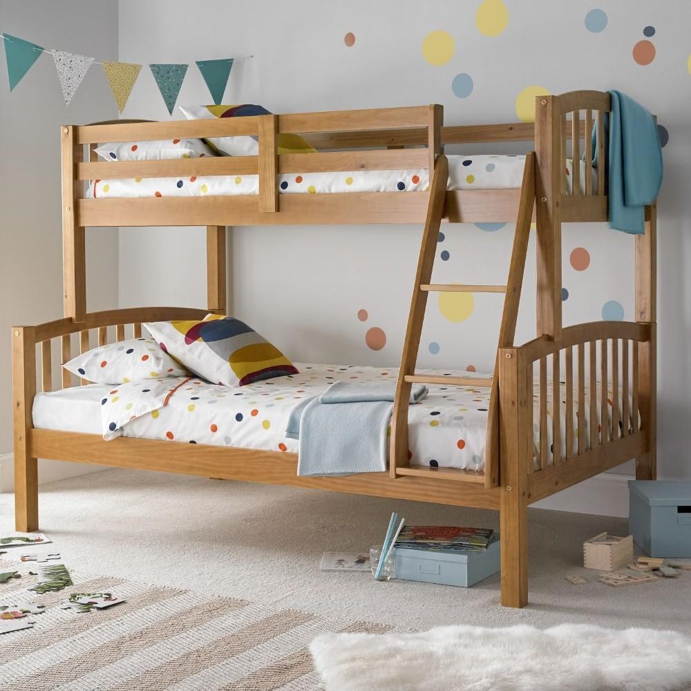 American Pine Wooden Triple Sleeper Bunk Bed