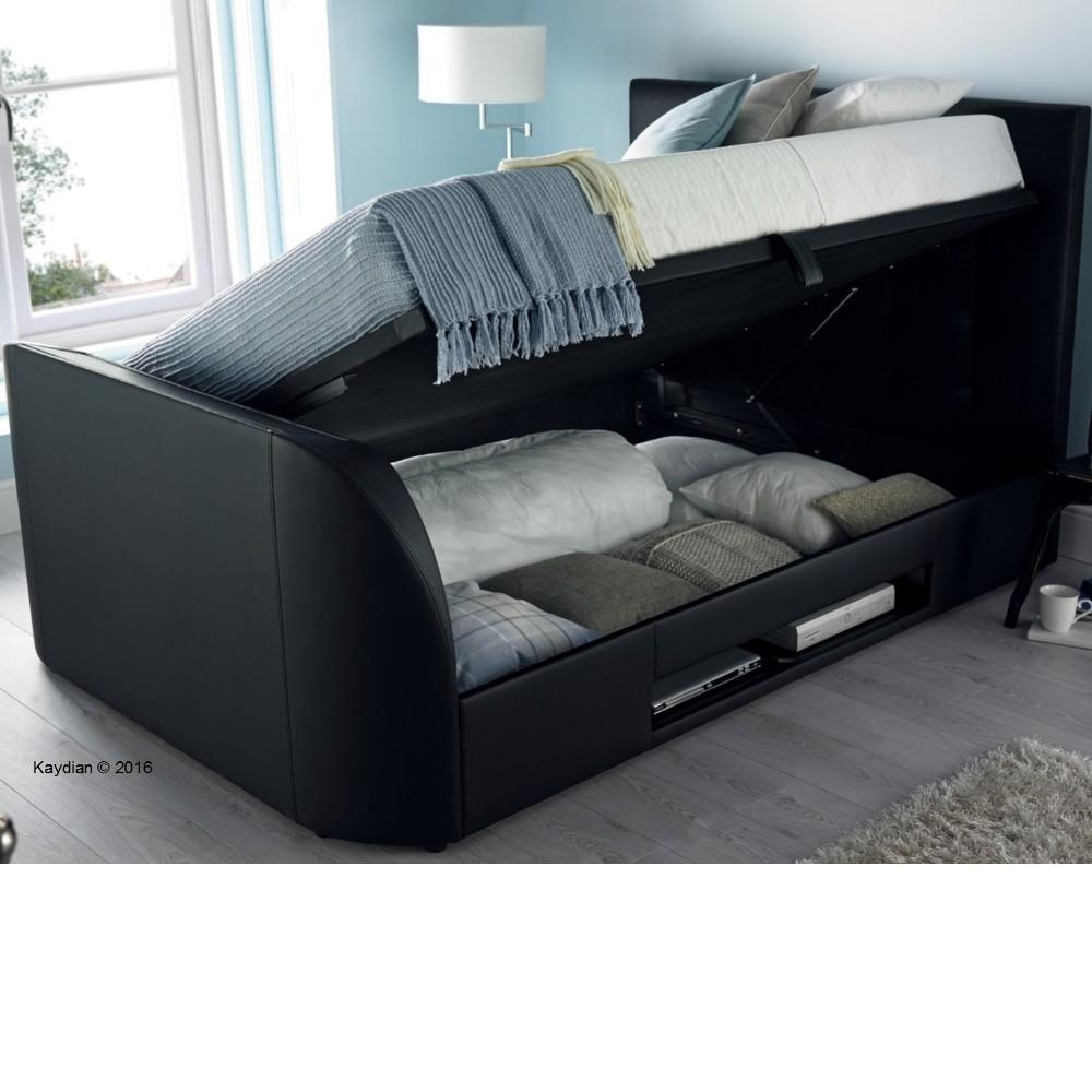 Barnard Black Leather Tv Ottoman Storage Bed Frame 6ft