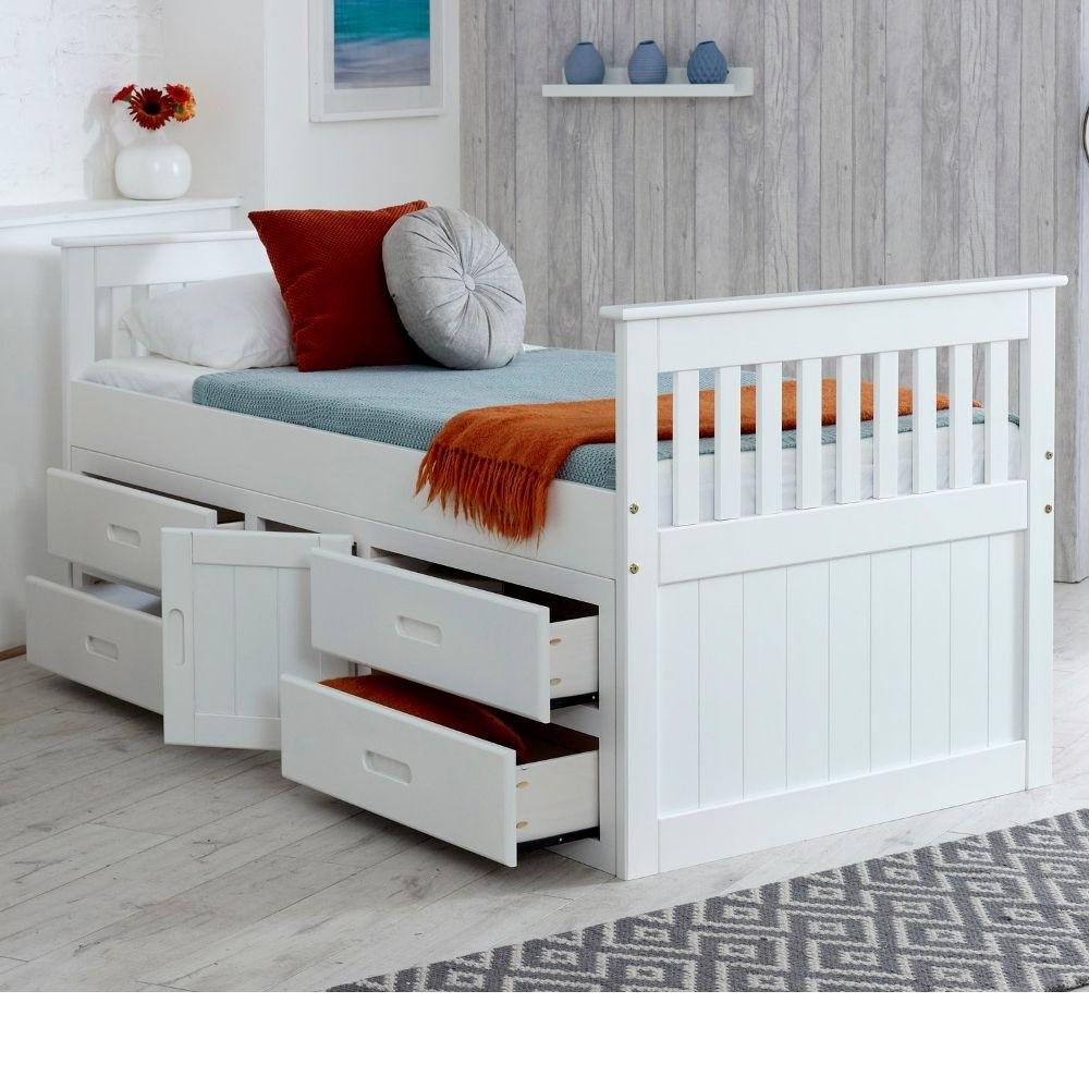 captains white wooden storage bed. Black Bedroom Furniture Sets. Home Design Ideas