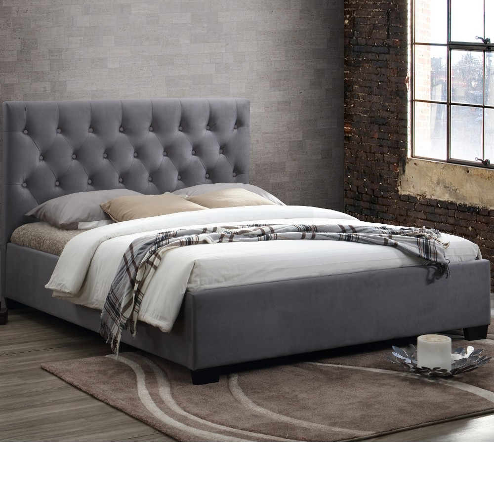 Cologne Grey Fabric Bed 5ft King Size