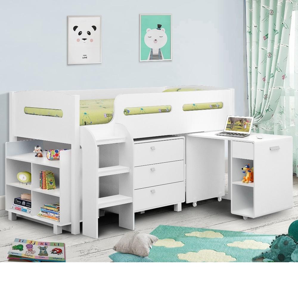 kimbo white mid sleeper cabin bed. Black Bedroom Furniture Sets. Home Design Ideas