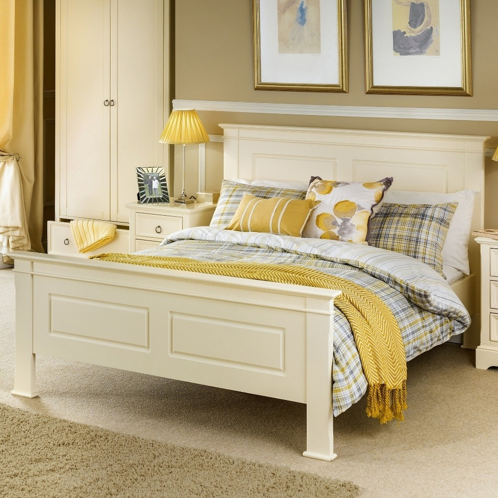la rochelle stone white wooden bed frame 4ft6 double. Black Bedroom Furniture Sets. Home Design Ideas