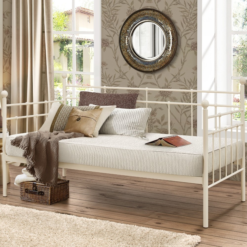 lyon cream metal guest day bed 3ft single. Black Bedroom Furniture Sets. Home Design Ideas