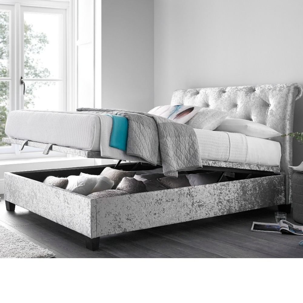 mercury silver crushed velvet ottoman scroll bed. Black Bedroom Furniture Sets. Home Design Ideas