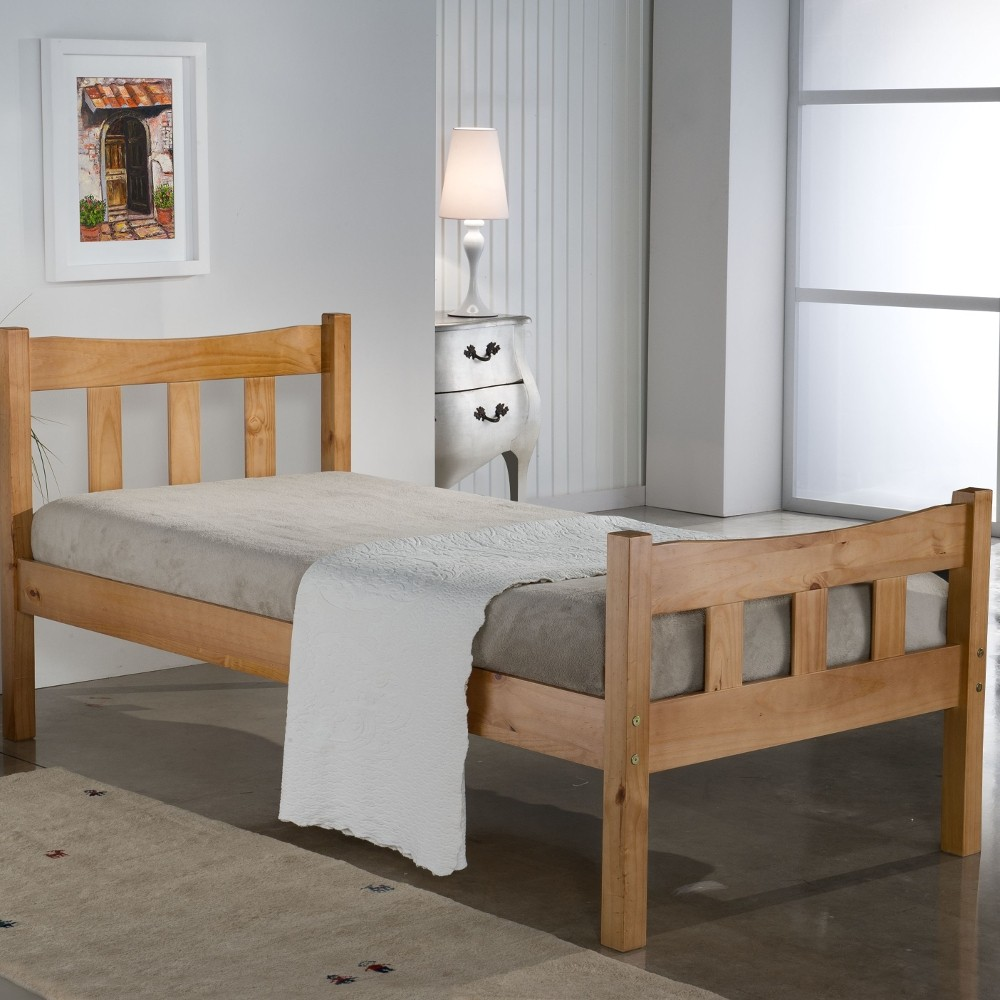Miami antique solid pine wooden bed frame ft small double