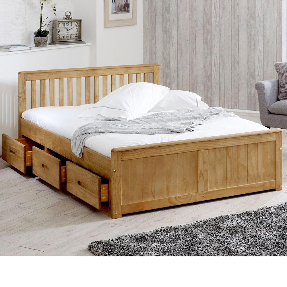 mission waxed pine wooden storage bed frame 4ft6 double. Black Bedroom Furniture Sets. Home Design Ideas