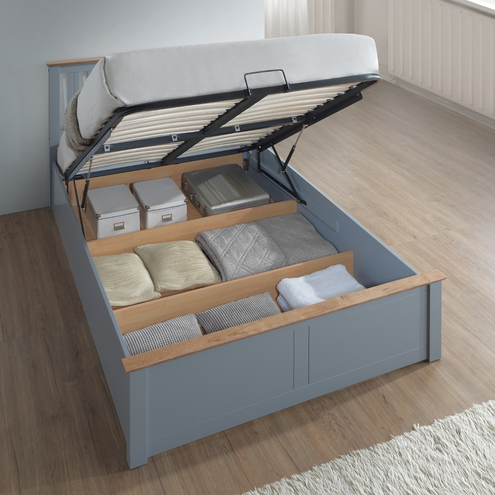 Phoenix stone grey wooden ottoman storage bed for Cheap divans with drawers