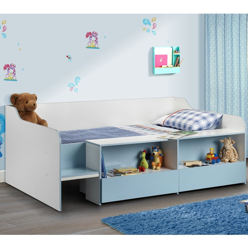 Stella Blue And White Wooden Kids Low Sleeper Cabin