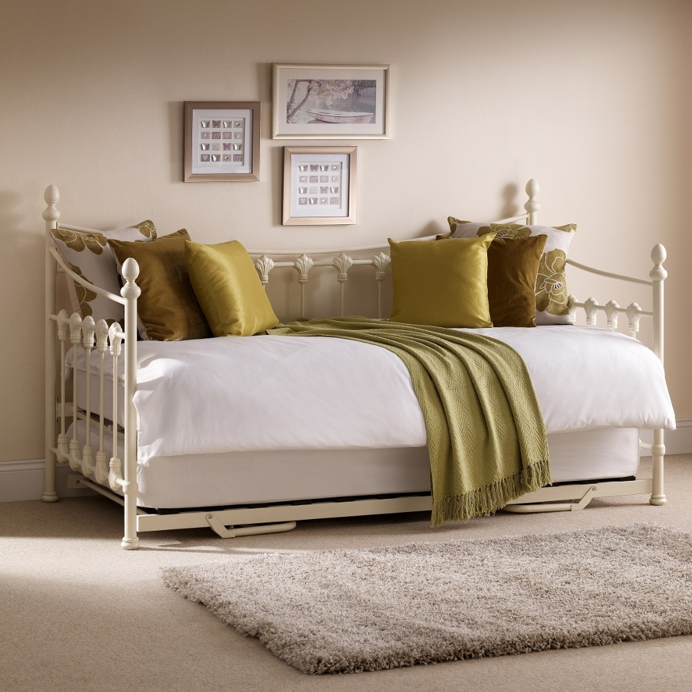 Versailles Stone White Metal Guest Day Bed And Trundle