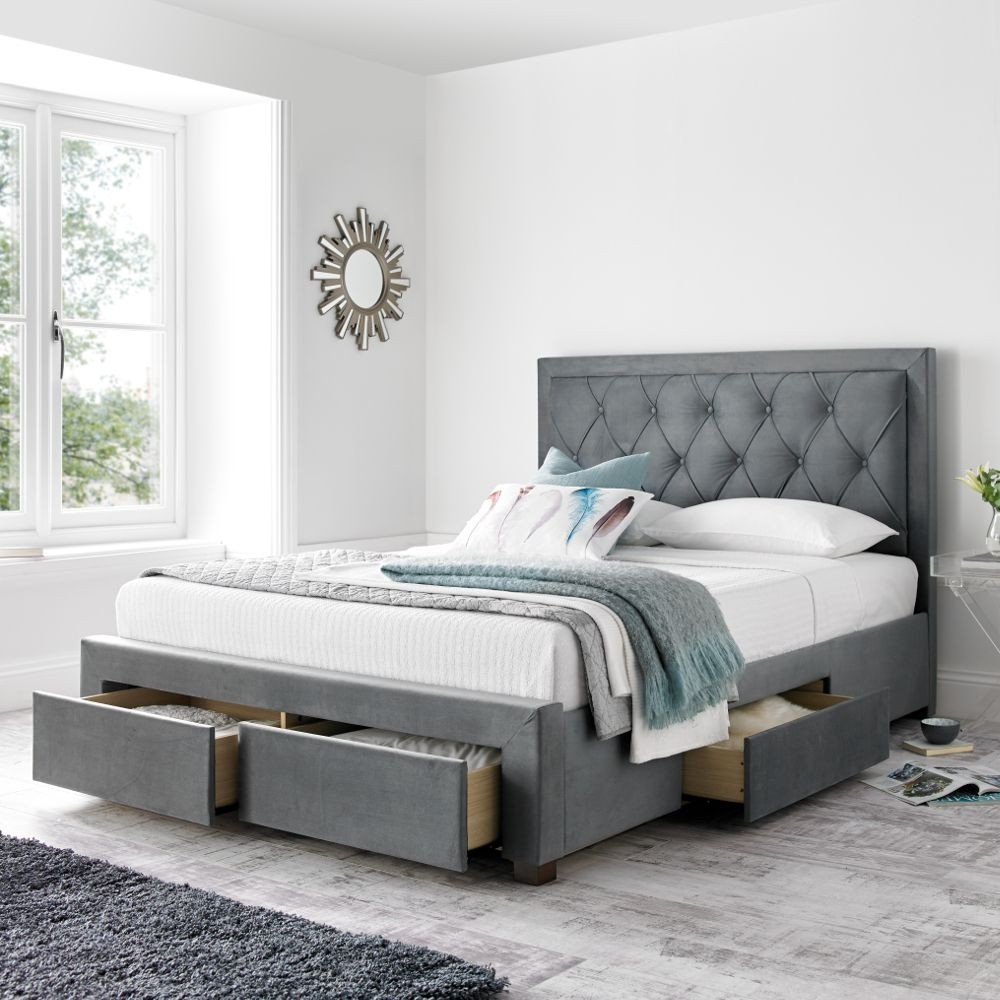 bed frame with storage and headboard woodbury grey fabric 4 drawer storage bed 20228