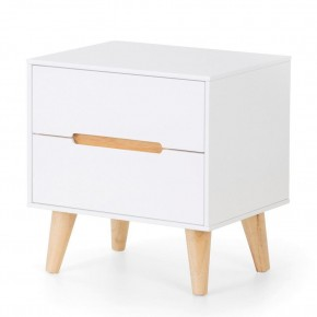 Alicia White and Oak 2 Drawer Wooden Bedside Table