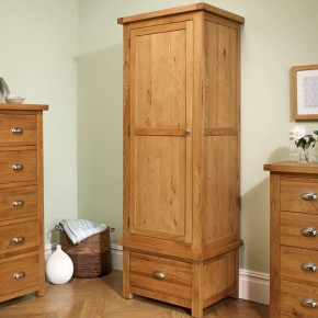 Woburn Oak Wooden 1 Door 1 Drawer Wardrobe