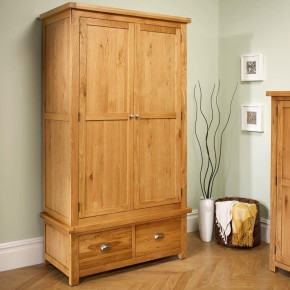 Woburn Oak Wooden 2 Door 2 Drawer Wardrobe