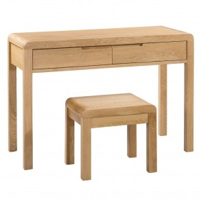 Curve Oak 2 Drawer Wooden Dressing Table and Stool