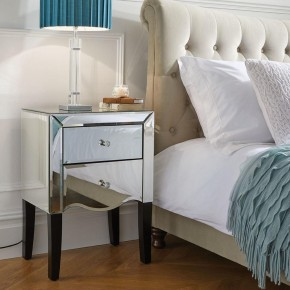 Palermo Mirrored 2 Drawer Bedside Table
