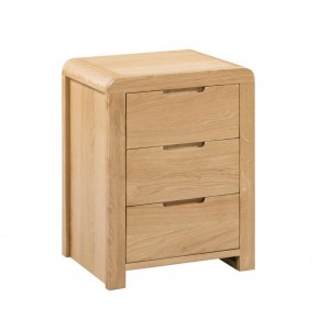 Curve Oak 3 Drawer Wooden Beside Table