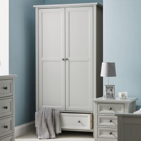 Maine Dove Grey 2 Door Wooden Combination Wardrobe