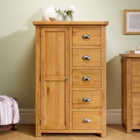 Woburn Oak Wooden 1 Door 5 Drawer Wardrobe