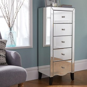 Palermo Mirrored Narrow 5 Drawer Chest