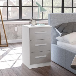Lynx White and Grey 3 Drawer Bedside Table