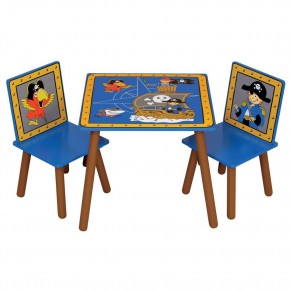 Pirate Ship Blue and Brown Childrens Table and 2 Chairs