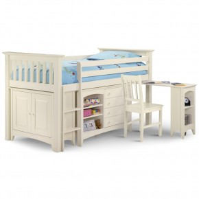 Cameo Stone White Finish Solid Pine Wooden Kids Mid Sleeper Sleep Station Desk Cabin Storage Bed