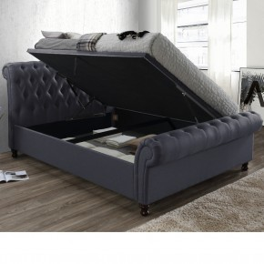 Castello Charcoal Fabric Ottoman Scroll Sleigh Bed