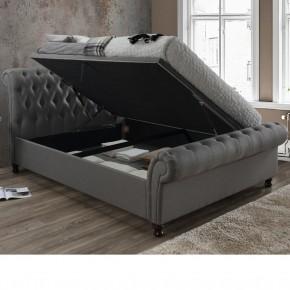 Castello Grey Fabric Ottoman Scroll Sleigh Bed