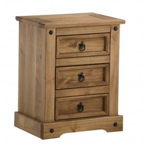 Corona Pine 3 Drawer Bedside Table