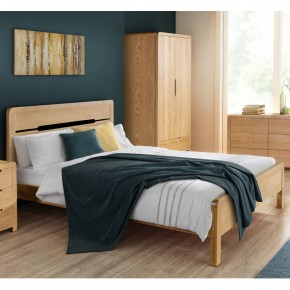 Curve Oak Wooden Bed