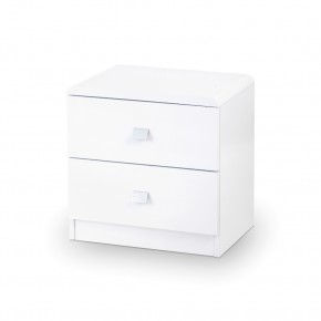 Domino White Wooden 2 Drawer Bedside Table