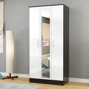 Lynx 3 Door Mirrored Wardrobe Black and White