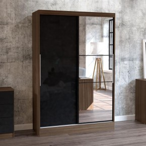 Lynx 2 Door Sliding Mirrored Wardrobe Walnut and Black