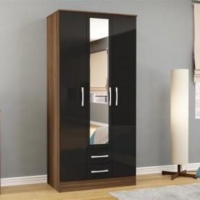 Lynx 3 Door Combination Mirrored Wardrobe Walnut and Black