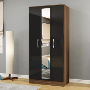 Lynx 3 Door Mirrored Wardrobe Walnut and Black