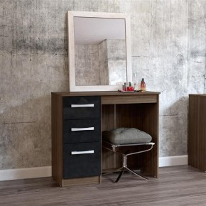 Lynx 3 Drawer Dressing Table Walnut and Black