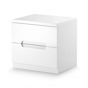 Manhattan Gloss White 2 Drawer Bedside Table