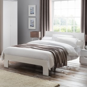 Manhattan White Gloss Wooden Bed