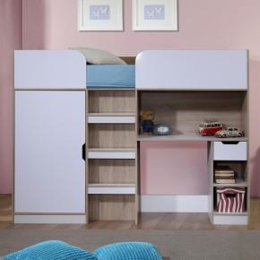 Paddington Oak and White High Sleeper Storage Bed