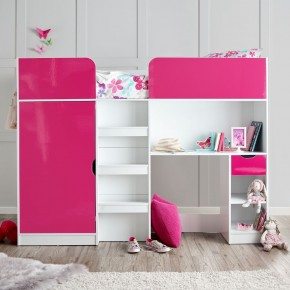 Paddington Pink and White High Sleeper Storage Bed