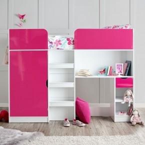 Paddington Pink and White High Sleeper Storage Bed