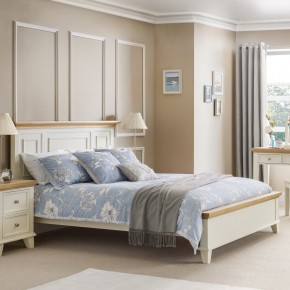 Portland Stone White and Oak Finish Wooden Bed