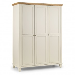 Portland Stone White and Oak 3 Door Wardrobe