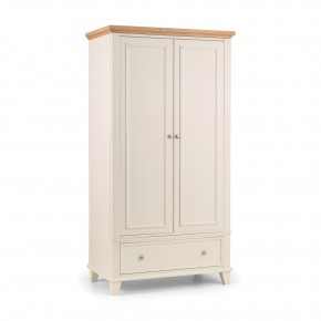 Portland Stone White and Oak Combination Wardrobe