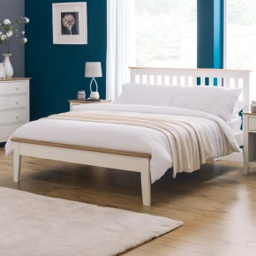 Salerno Ivory and Oak Finish Wooden Bed