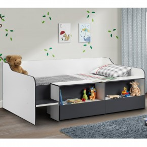 Stella Grey and White Wooden Kids Low Sleeper Cabin Storage Bed