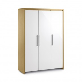 Stockholm Gloss White and Light Oak 3 Door All Hanging Wardrobe