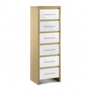 Stockholm Gloss White and Light Oak 6 Narrow Drawer Chest