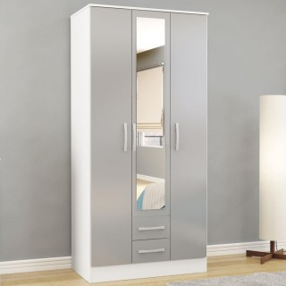 Lynx White and Grey 3 Door Combination Wardrobe with Mirror