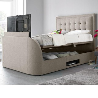Metro Oatmeal Fabric Ottoman TV Bed